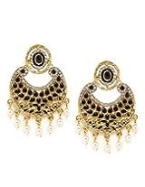 Bindhani Traditional Black Faux Pearl Chandbali Earrings For Women