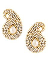 Ethnic india bollywood classic white paisley pearl white stone earringSAEA0950WH