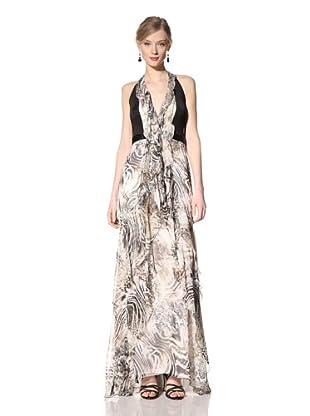 Carmen Marc Valvo Women's Zebra Halter Gown withNeoprene (Ivory Black)