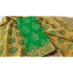 Green Block print Cotton Dress Material With Dupatta