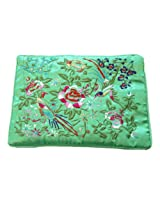 Wrapables Silk Embroidered Brocade Jewelry Travel Organizer Rolls, Green