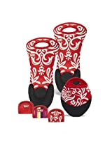 BUILT NY Neoprene 6-Piece Kitchen Essentials Set, Cranberry Red Damask