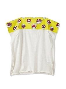 kicokids Girl's Ladybug Patchwork Graphic 2-D Tank Top (Milk/Citrus)