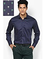 Blue Printed Slim Fit Clubwear Shirt V Dot