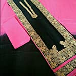 Black Cotton Dress Material With Dupatta