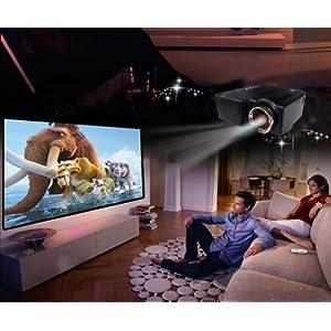 Portable LED Projector Cinema Theater PC&Laptop VGA/USB/SD/AV input HDMI Port Black