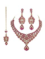 I Jewels Traditional Gold Plated Stone Necklace Set with Maang Tikka For Women (Rani)(M4022Q)