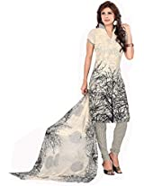 Sonal Trendz Beige & Black Color Printed Semi-Stitched Suit.