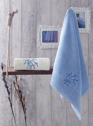 Homemania Handtuch 2er Set Februs blau 50 x 90 cm