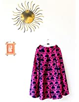 The Sewing Machine Pink Abstract Flower Cotton Midi Skirt