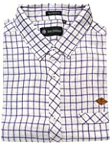 AA' Southbay Men's White Base Purple Checks Linen Cotton Long Sleeve Casual Shirt
