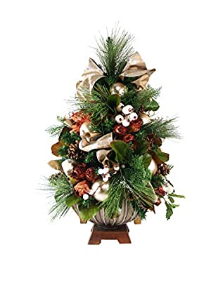Creative Displays Magnolia Leaf And Hops Table Top Tree, Tan/Brown/White/Green
