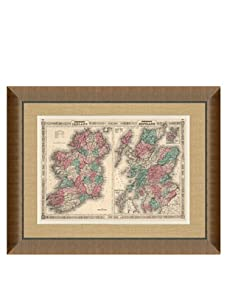 "Johnson and Ward Antique Map of Ireland & Scotland, 1860's, 28"" x 34"""
