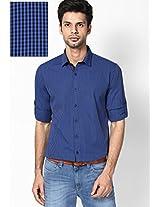 Blue Micro Checks Roll Up Sleeve Shirt