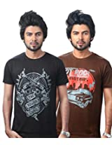 UK Tribes Men's Cotton Pack of 2 Multi-Color T-Shirt (X-Large)