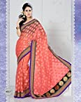 Designer Peach Colour Net Patola Jacquard Saree