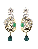 Be You Attention-Seeking Green Colour Diamond Look Rhodium Plated Brass Dangle Earring for Women