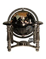 Unique Art 10-Inch Tall Black Onyx Ocean Gemstone World Globe with 4 Leg Silver Stand
