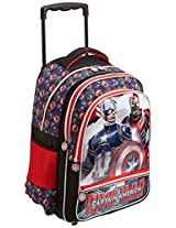 Captain America Polyester 18 Inch Red and Black Children's Backpack (MBE-WDP0502)