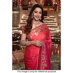 Pink and Peach Colored Madhuri Dixit Replica Bollywood Style Georgette Saree by Ninecolours