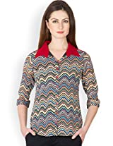 Ayaany Multicolor Polyester Shirt for Women (Size: Large)