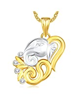 Om Ganpati God Pendant For Men And Women With Chain Lockets Gold Plated In American Diamond Cz GP353