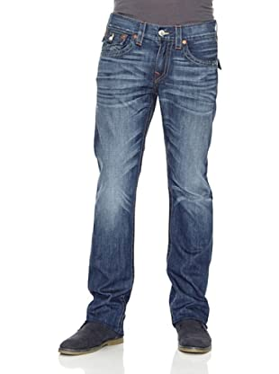 True Religion Pantalón Denim Lavado Pliegues Talle Bajo (Azul Medio)