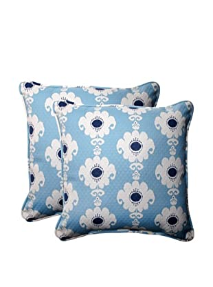 Set of 2 Outdoor Rise-n-Shine Pool Square Corded Toss Pillows (Navy/Aqua/Cream)