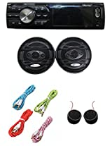 Worldtech Onmca_414 Single Din Wt - 7102U With 6 Inch Speakers Set With 4 Aux Wire & Tweeter
