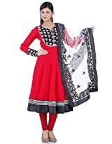 Tomato red embroidery readymade suit dupatta