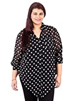 White Polka Dot Printed Black Shirt_LISS500_16