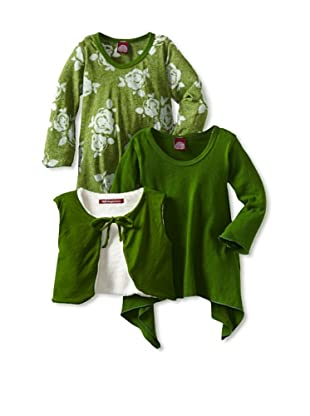 Red Wagon Baby Girl's 3-Piece Bell Sleeve Tunic/Vest Set (Emerald)