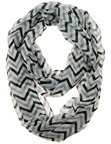 Cotton Cantina Soft Chevron Sheer Infinity Scarf in Contrasting Colors (Aqua/Purple/White)