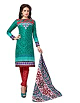 Sonal Trendz Sea Green Color Pure Cotton Printed Suit.