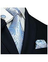 """Landisun Paisleys Mens Silk Tie Set: Tie+Hanky+Cufflinks 114 Light Blue, 3.75""""Wx66""""L"""