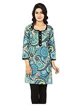 Anekaant Women's Cotton Printed Blue 3/4th Sleeve Kurti