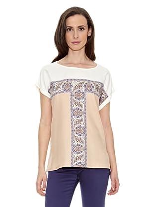 Cortefiel Camiseta Estampada (Beige / Blanco)