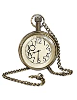 Classic Smooth Vintage Numeral Metal Gold Color Mens Womens Pocket Watch - 1.8 Inch