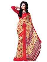 Riti Riwaz Yellow & Red saree with unstitched blouse RVL333B
