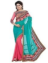 Inddus Women Green & Pink Half & Half Partywear Saree