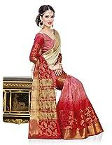 Meghdoot Artificial Silk Saree (ETHNIC_MT1399_TASSARxSHADEDRED Woven Beige and Red Colour Sari)