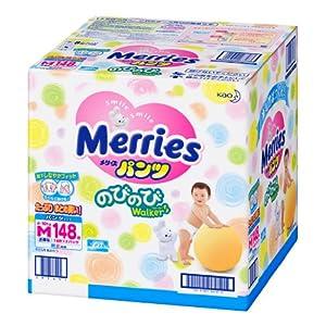 【ケース販売】 メリーズパンツのびのびWalker Mサイズ [6~10kg] 148枚 (74枚×2) (カラー箱入り)