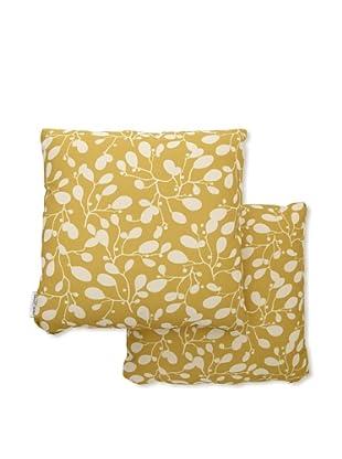 Steve & James Set of 2 Outdoor Throw Pillows (Green Flower)