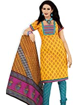 atisundar Beautiful Yellow And Sky Blue Traditional Cotton Printed Salwar Suit- 4296_39_8004