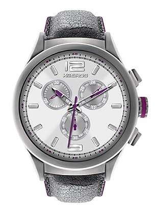 K&BROS 9455-2 / Reloj de Caballero  con correa de piel Blanco