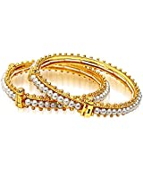 Surat Diamonds Real Freshwater Pearl & Gold Plated Bangles with Screw for Women (BGP6)
