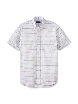 Gitman Blue Men's Multicolor Horizontal Stripes Long Sleeve Sportshirt (Teal)