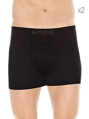 Unno Pack x 2 Boxers Sin Costuras Microfibra (Negro / Negro)