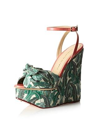 Charlotte Olympia Women's Meredith High Sandal (Leaf/Coral)