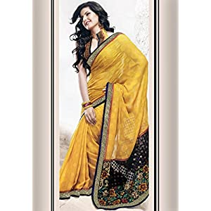 Sunrise Yellow Faux Georgette Saree with Blouse